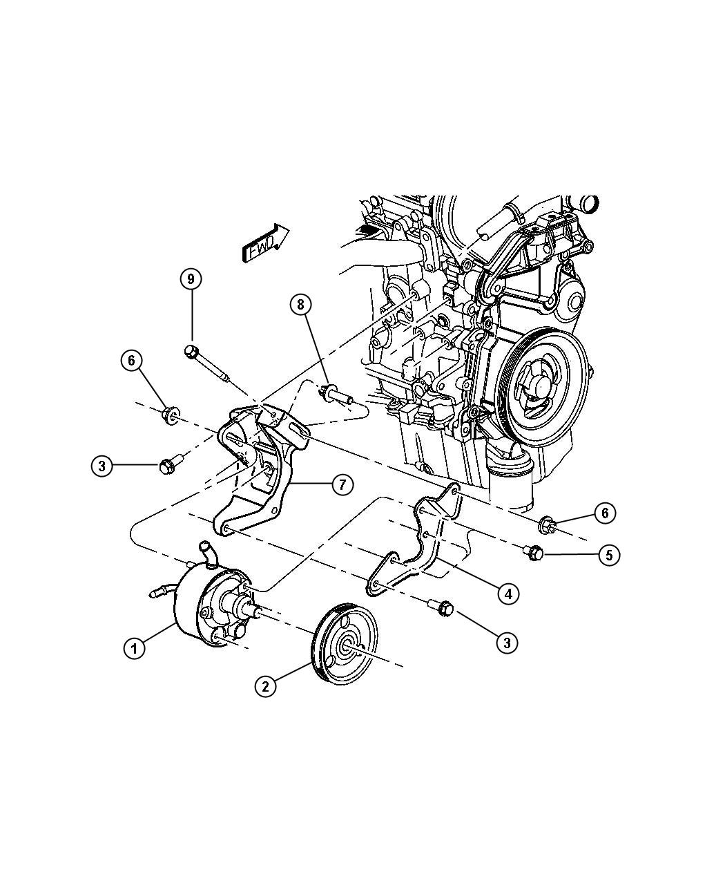 dodge stratus water pump diagram
